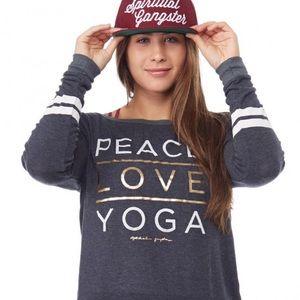 Spiritual Gangster Peace Love Yoga Sweatshirt Gray